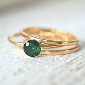 Jewelry - Set of Emerald and Gold Stacking Rings